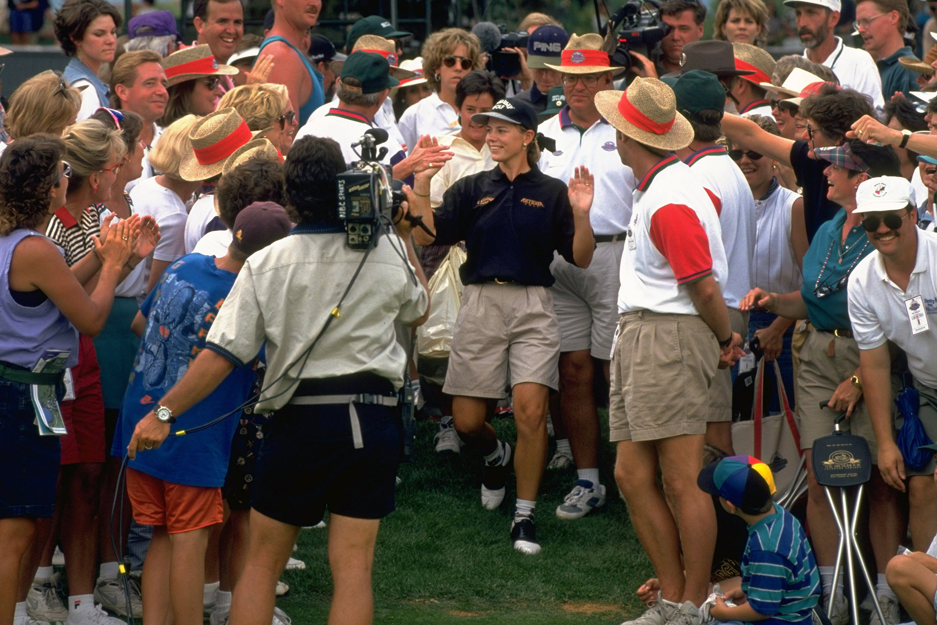 Golf: US Women's Open: Annika Sorenstam victorious with fans after winning tournament on Sunday at The Broadmoor GC. View of NBC Sports media camera filming. Colorado Springs, CO 7/16/1995 CREDIT: Robert Beck (Photo by Robert Beck /Sports Illustrated/Getty Images) (Set Number: X48700 TK3 )