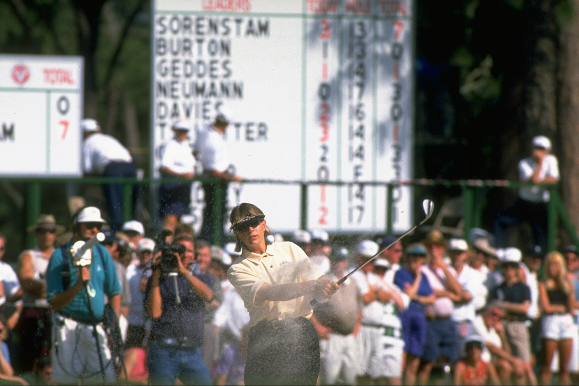 Golf: US Women's Open: Annika Sorenstam in action from sand on Sunday at Pine Needles GC. Southern Pines, NC 6/2/1996 CREDIT: Jim Gund (Photo by Jim Gund /Sports Illustrated/Getty Images) (Set Number: X50866 )