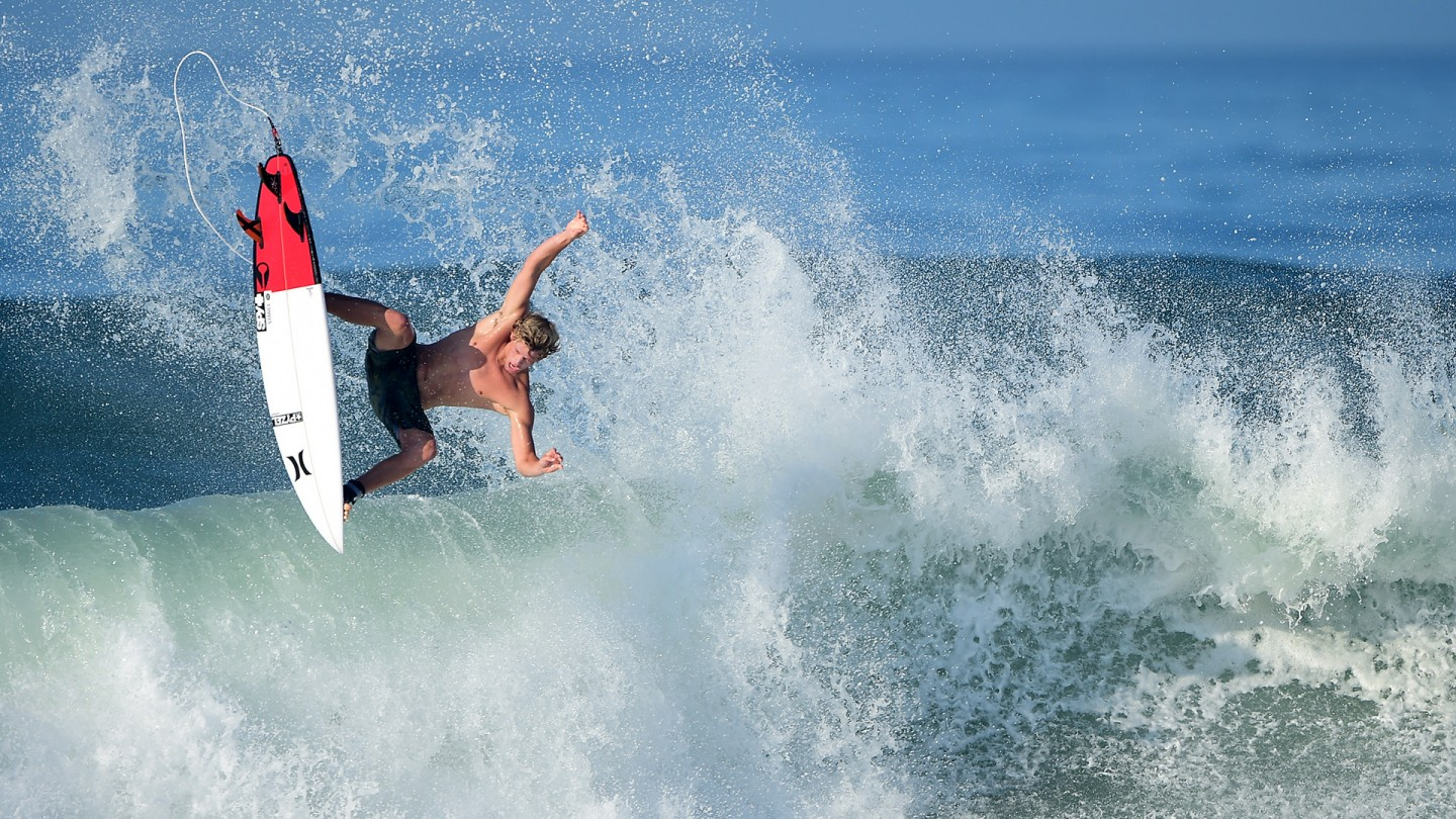 John John Florence goes big in anything. He stuck this crazy air in practice on Tuesday.
