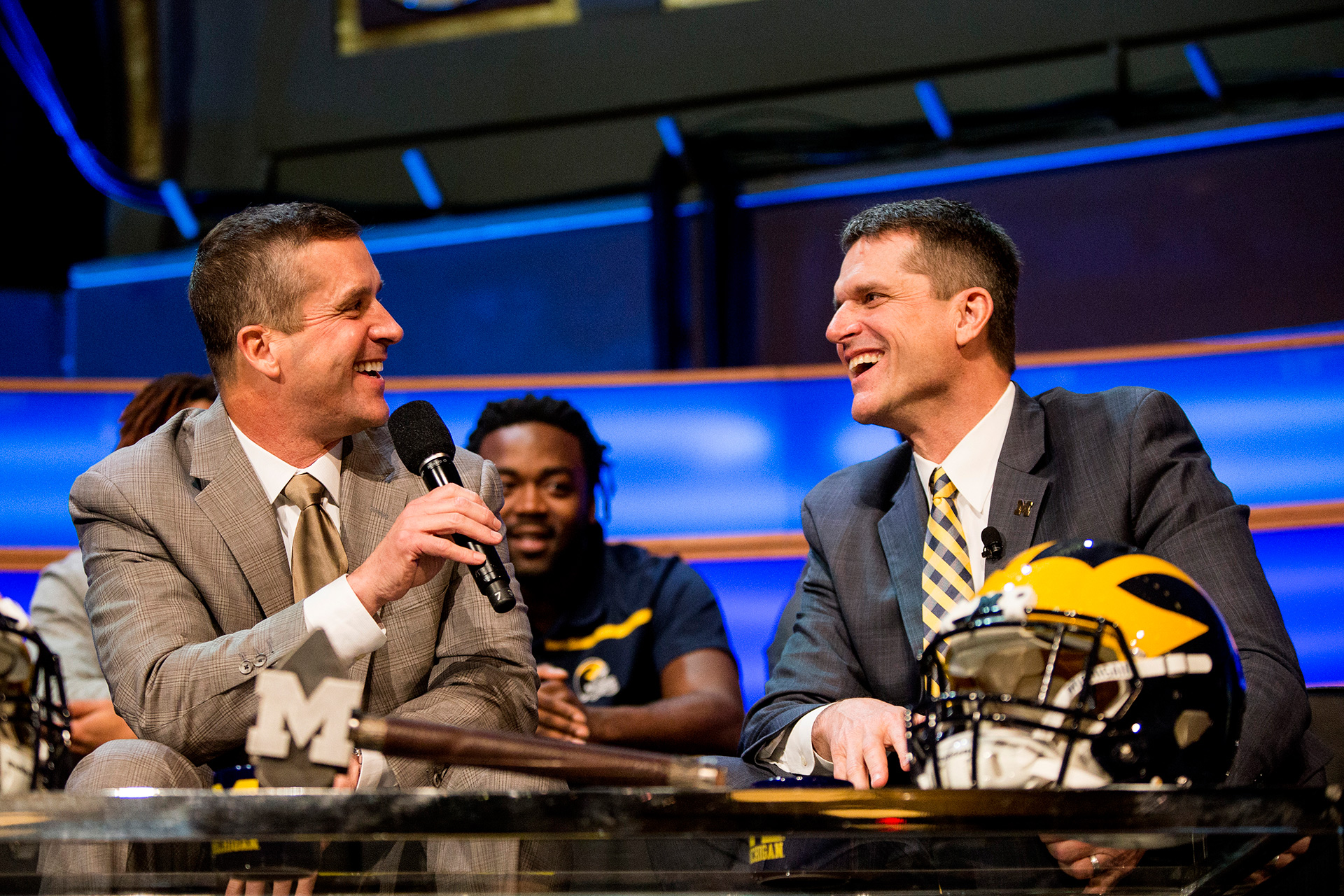 Coach Harbaugh welcomes his brother, Baltimore Ravens head coach and fellow Michigan man, John Harbaugh.