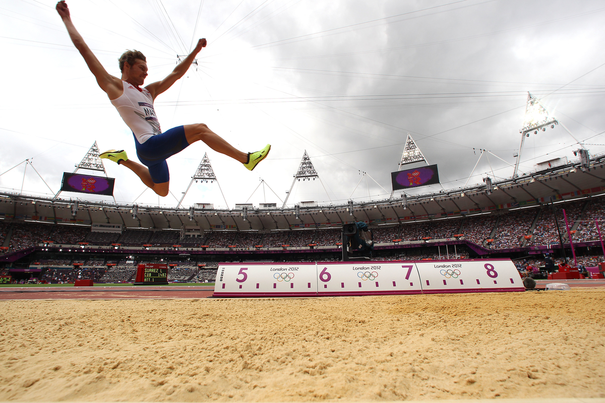Kevin Mayer of France jumps during the long jump portion of the decathlon during track and field at the Olympic Stadium during day 12 of the London Olympic Games in London, England, United Kingdom on August 8, 2012.