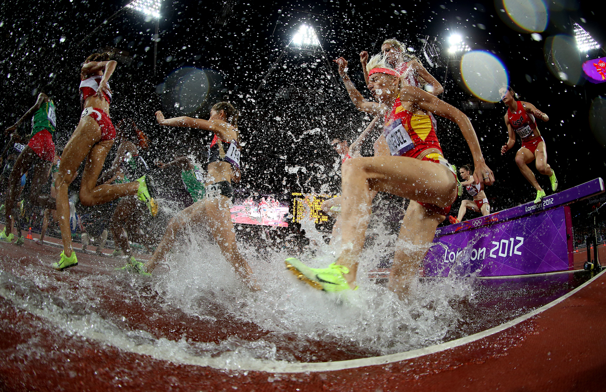 Marta Dominguez of Spain competes in the 3000m steeplechase final at track and field at the Olympic Stadium during day 10 of the London Olympic Games in London, England, United Kingdom on August 3, 2012.