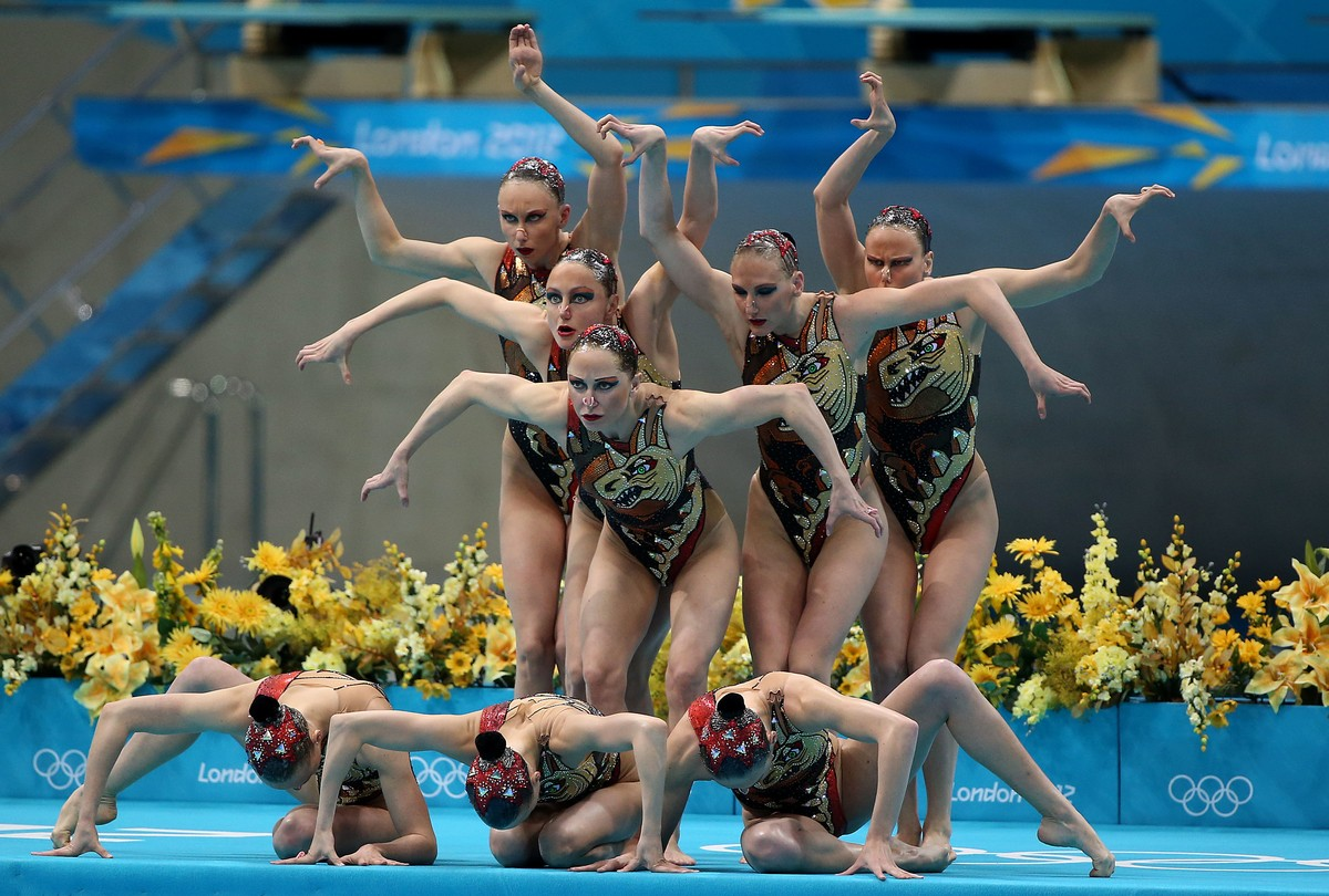 The team from Russia performs during team synchronized swimming free routine final during day 14 of the London Olympic Games in London, England, United Kingdom on August 10, 2012. Russia went on to win the gold medal.