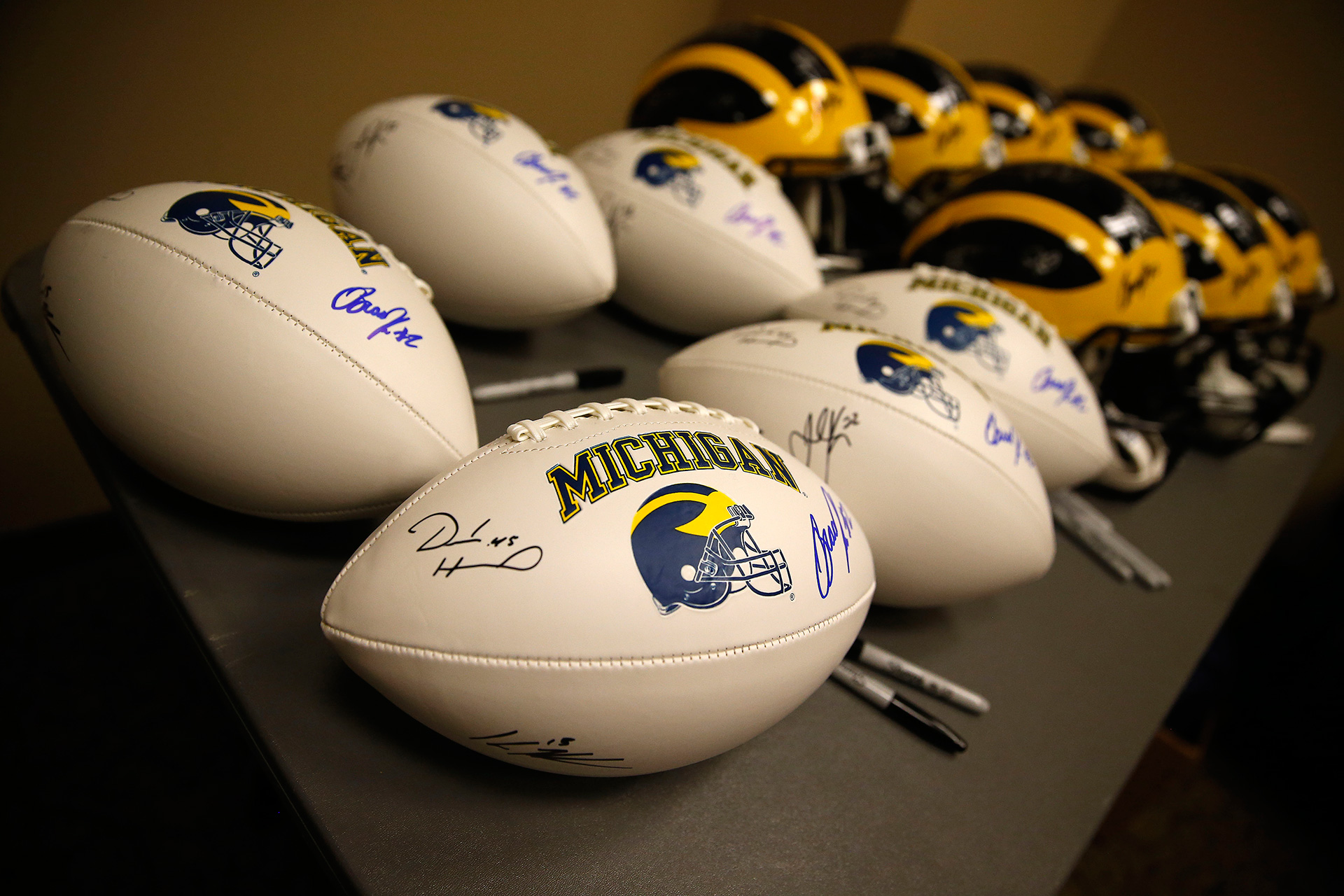 Equipment backstage bears the signatures of Michigan greats.