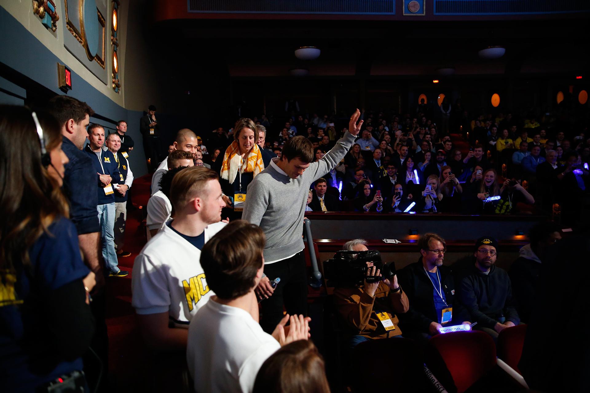 Tom Brady acknowledges the crowd.