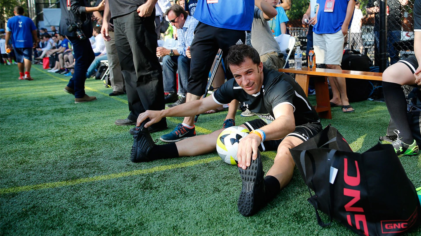 Del Piero stretches on the pitch.