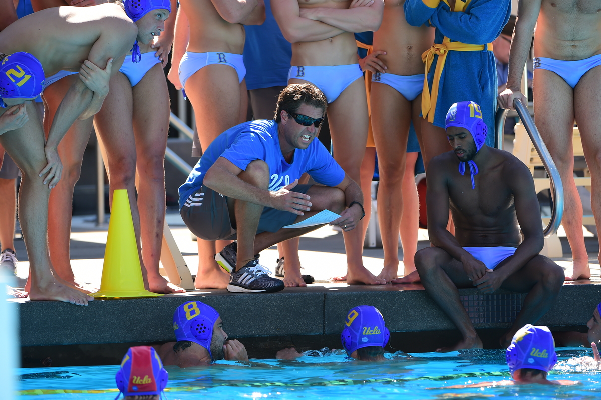 UCLA Head Coach Adam Wright huddles the team. UCLA won the tournament and is currently ranked #1 in the country