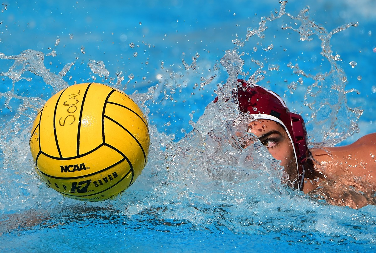 Justin Roberto of Stanford drives the ball down the pool