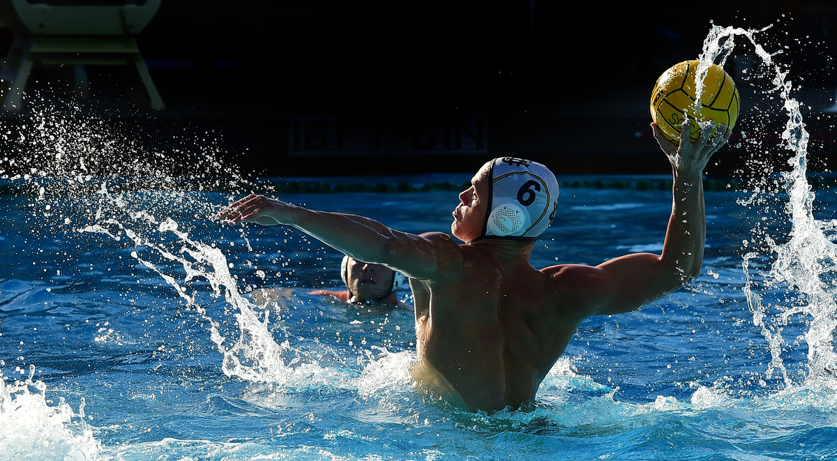Ryan Warde of UC Irvine takes a penalty shot in the Anteaters 14-9 loss to UOP. Warde tallied one goal in the game