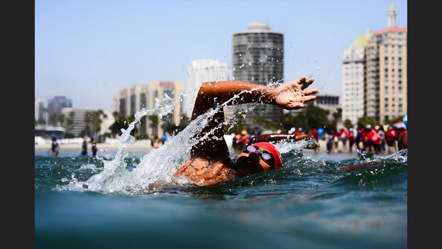 Open Water Swimming on  July 30, 2015 at Alamitos Beach, Long Beach, CA.