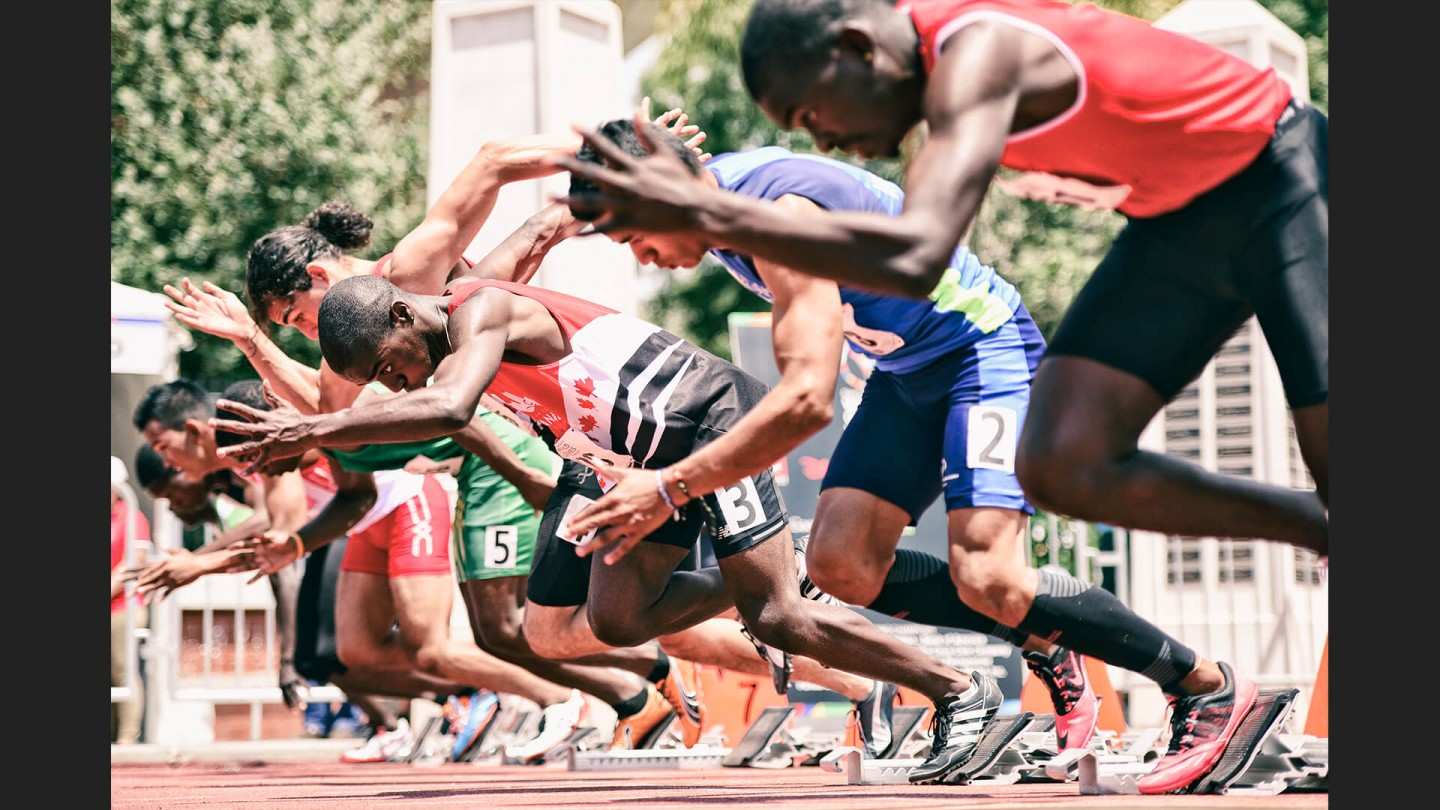 Mens 100m on July 31, 2015 at Loker Stadium/Cromwell Field, USC, Los Angeles, CA.