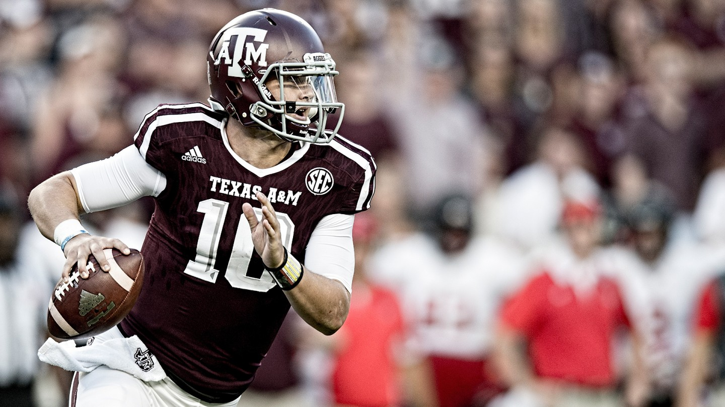 Kyle Allen rolls out of the pocket in search of a receiver during the first half of the Aggies' home opener against Ball State. Allen, a top-rated five-star recruit out of Arizona, came to A&M to lead the program after the departure of Heisman-winning quarterback Johnny Manziel.