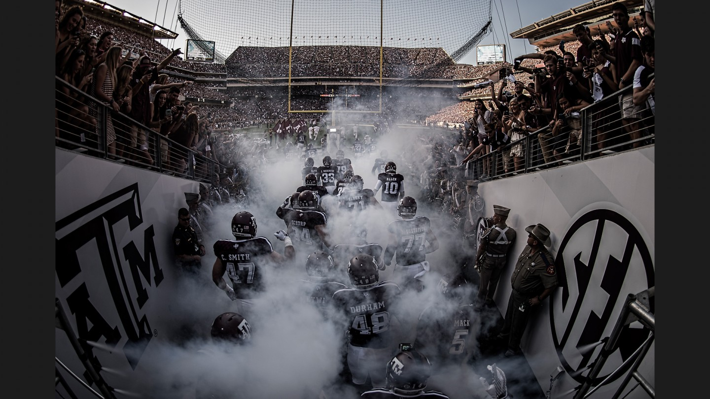 Texas A&M players enter Kyle Field for the first game following a half-billion dollar renovation, making it the largest stadium in the SEC, largest collegiate stadium in Texas and the third-largest collegiate stadium in the country.