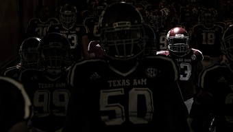 Aggie players march down the tunnel to the field following the half time break against Ball State.