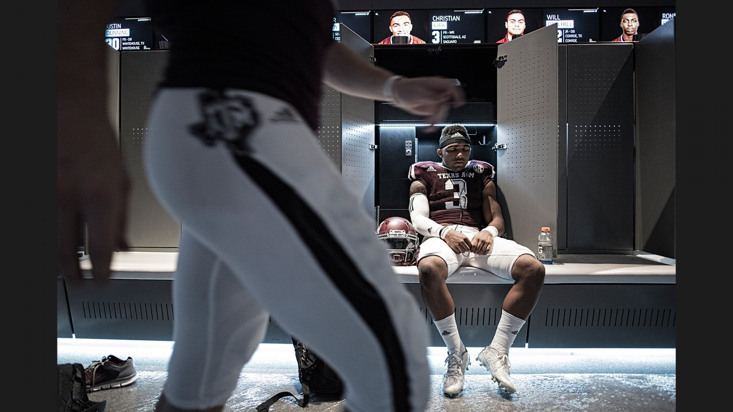 Receiver Christian Kirk gathers his thoughts before taking the field to take on Nevada.