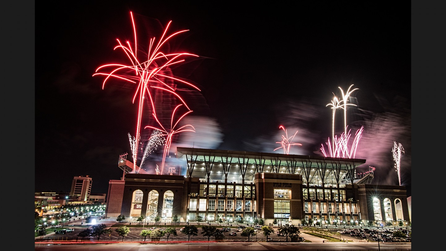 Fireworks after Midnight Yell practice on the night before the home opener against Ball State. Yell practice is one of the many Aggie traditions. An estimated 50,000 fans attended.