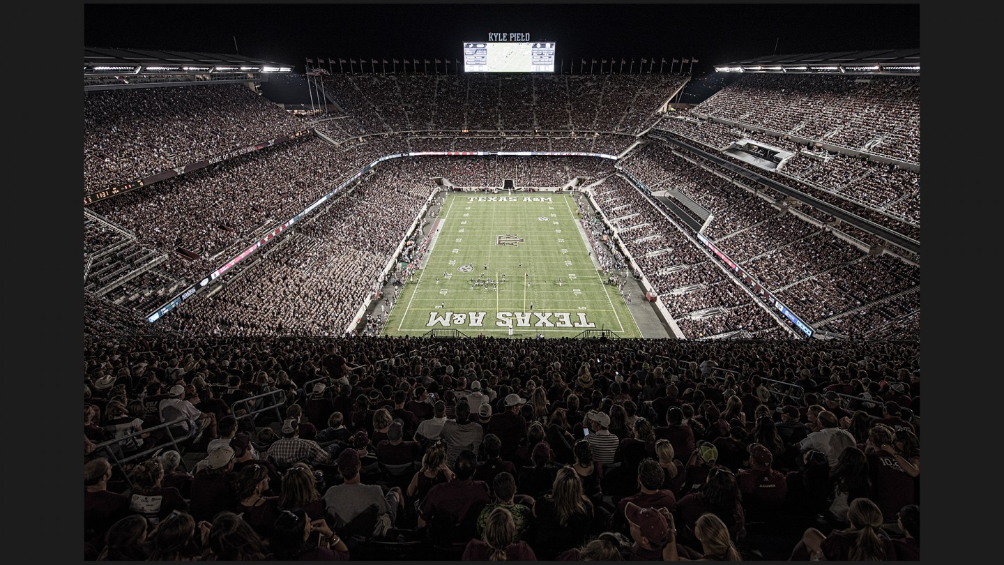 A capacity crowd of 104,212 watches the Aggies' win over Ball State at newly renovated Kyle Field.