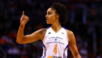 Sep 7, 2014; Phoenix, AZ, USA; Phoenix Mercury forward Candice Dupree celebrates a play in the first half against the Chicago Sky during game one of the WNBA Finals at US Airways Center. The Mercury defeated the Sky 83-62. Mandatory Credit: Mark J. Rebilas-USA TODAY Sports