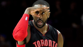 Mar 2, 2015; Philadelphia, PA, USA; Toronto Raptors forward Patrick Patterson (54) reacts to his three pointer against the Philadelphia 76ers during the second quarter at Wells Fargo Center. Mandatory Credit: Bill Streicher-USA TODAY Sports