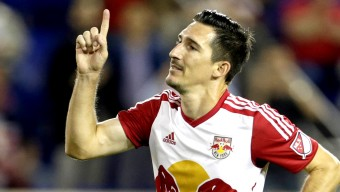 Oct 7, 2015; Harrison, NJ, USA; New York Red Bulls midfielder Sacha Kljestan (16) celebrates after scoring a penalty kick goal against the Montreal Impact during the first half of a soccer game at Red Bull Arena. Mandatory Credit: Adam Hunger-USA TODAY Sports