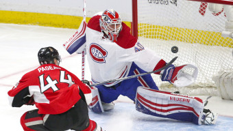 Mar 19, 2016; Ottawa, Ontario, CAN; Ottawa Senators center Jean-Gabriel Pageau (44) scores a goal against Montreal Canadiens goalie Ben Scrivens (40) during the first period at Canadian Tire Centre. Mandatory Credit: Jean-Yves Ahern-USA TODAY Sports