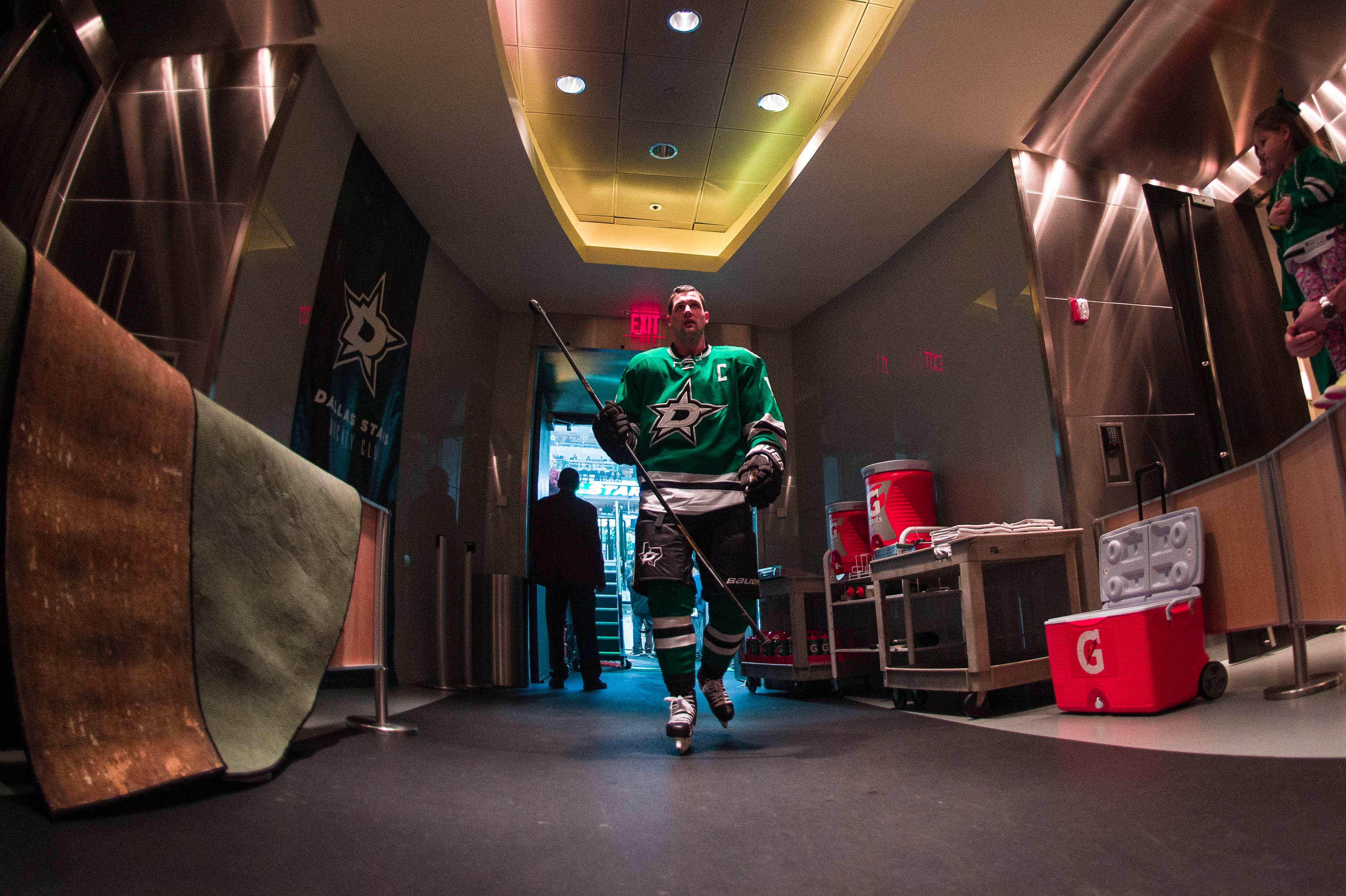 Apr 22, 2016; Dallas, TX, USA; Dallas Stars left wing Jamie Benn (14) leaves the ice in game five against the Minnesota Wild in the first round of the 2016 Stanley Cup Playoffs at the American Airlines Center. The Wild defeat the Stars 5-4. Mandatory Credit: Jerome Miron-USA TODAY Sports