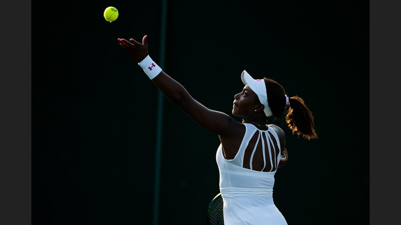 Sloane Stephens serves against fellow American Lauren Davis on court 8 on Day 3.Stephens won in straight sets.