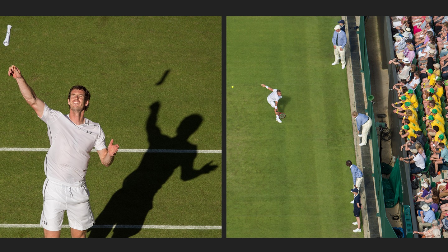 Andy Murray on Day 2 (left) and  Lleyton Hewitt on Day 1 (right.)