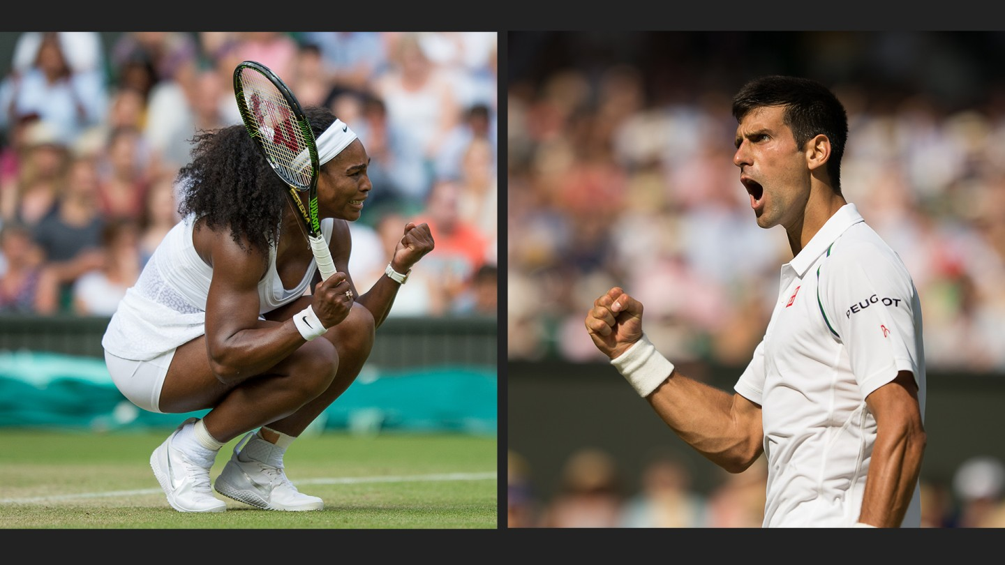 Serena Williams (left) and Novak Djokovic (right) were winners on Day 5.