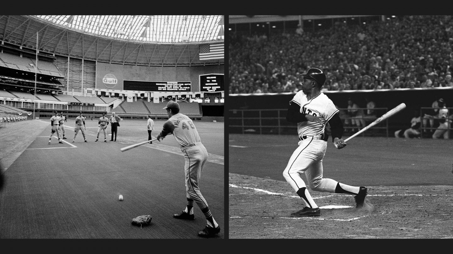 The first All-Star game in a dome was played at the Astrodome in 1968. Willie Mays (right) singled in the first inning and scored the game's only run.