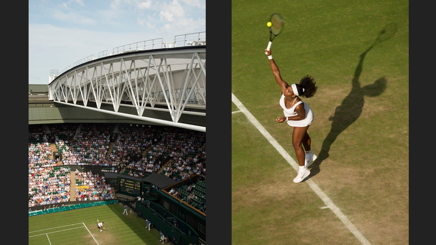 Novak Djokovic (left) and Serena Williams (right) in action on Day 5.