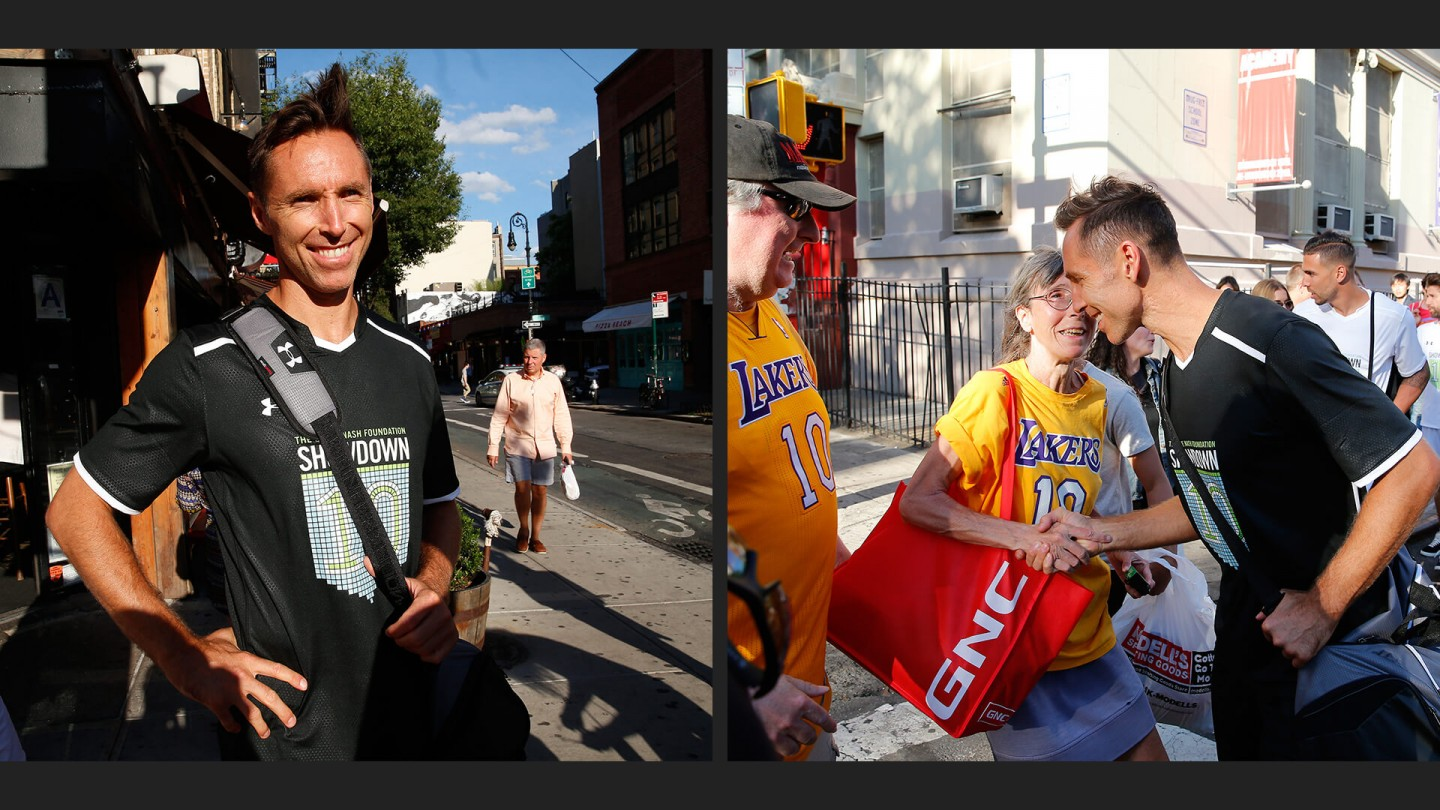 Nash and the crew walk to the field in the Lower East Side neighborhood in New York City.