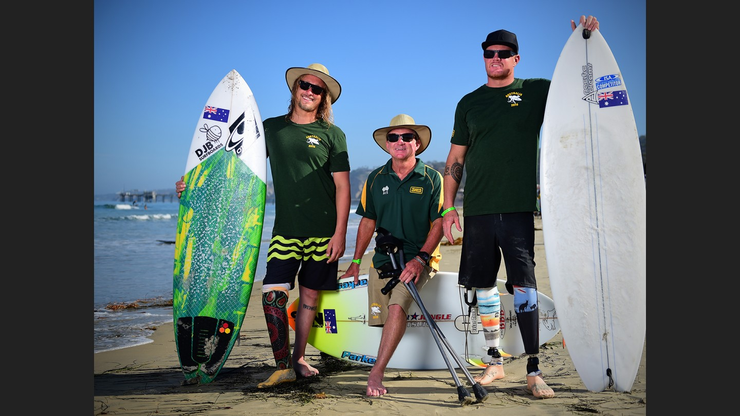 "At left, Australian Jake Matthews has been surfing since he was a tike when his step dad threw him into the water. Middle is 52 year old Mark ""Mono"" Stewart. Mono lost his leg to cancer 35 years ago. ""It's the best thing that ever happened to me."" He surfs the best breaks around the world....just finishing a month in cranking Indonesian surf. At right 34 year old Had Wheatley lost both legs 15 years ago in a work related accident. The Aussie ditches his prosthetics whenever he can and rides like a kneeboarder."