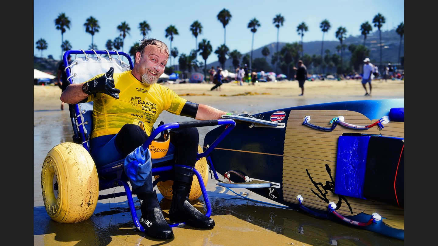 "Jimmy Collins taught school in Sacramento. He caught the surf bug after watching Challenged surfer Jesse Billauer in ""Step Into Liquid."" He has retired and moved to Hawaii.....to surf."