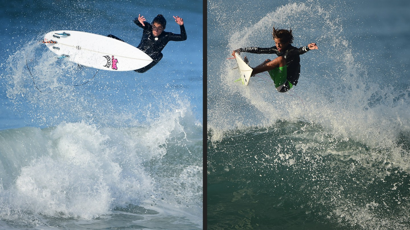 Silvana Lima of Brazil goes big on a Trestles ramp (left,) and Noah Beschen struts his stuff in front of the big boys (right.)