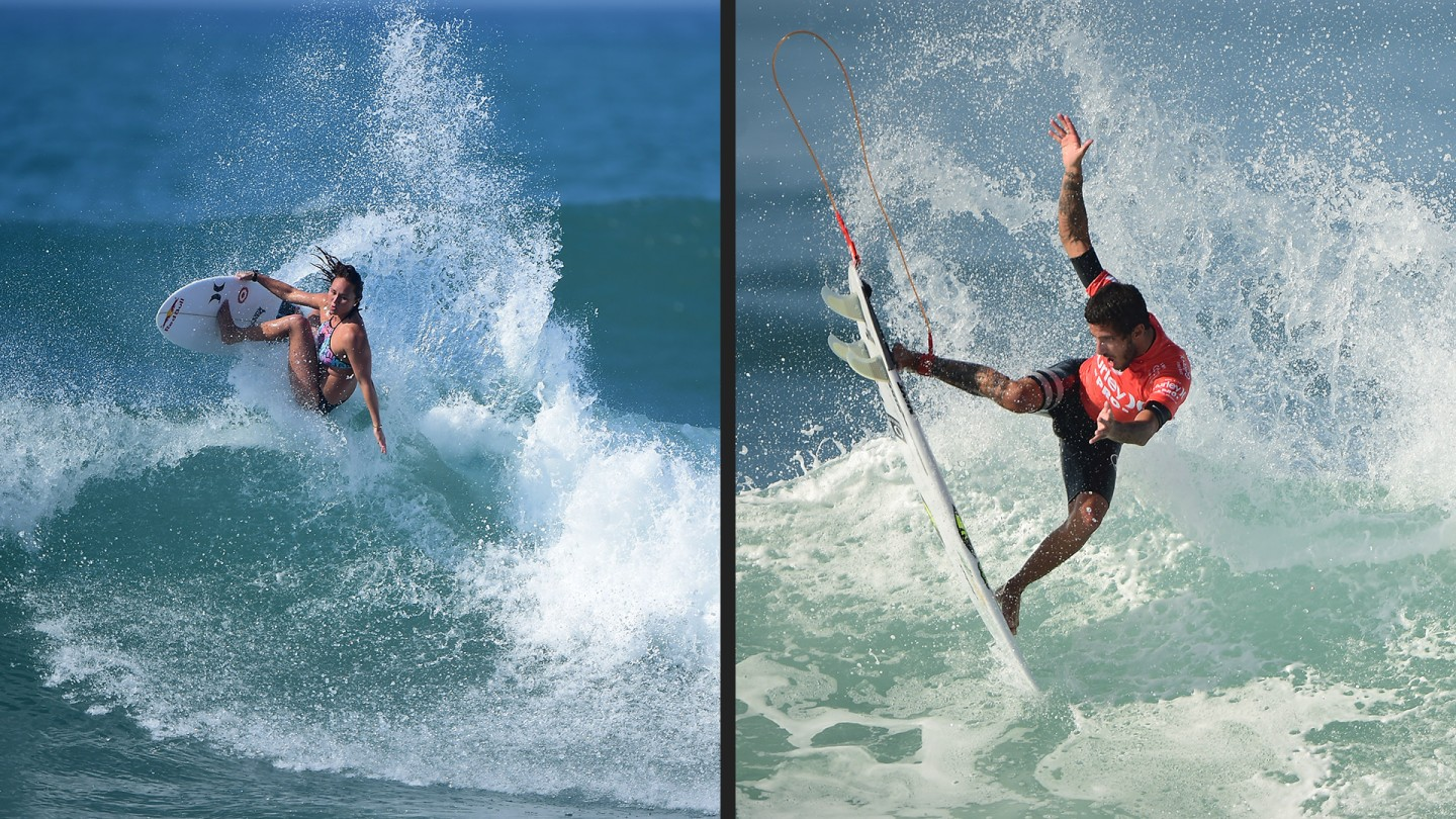 Carissa Moore is currently ranked #2 in the world. She's looking to climb to #1 with moves like this (left,) Brazilian Filipe Toledo is currently ranked #4 on the tour (right.)