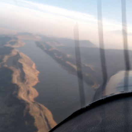 Flying over Horsetooth reservoir