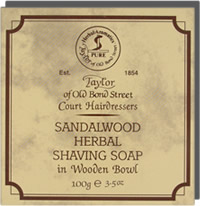 Taylor of Old Bond Street Sandalwood Wooden Bowl and Hard Shaving Soap 100g