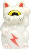 Mini Fortune Cat - White w/ Red Lighting Bolt