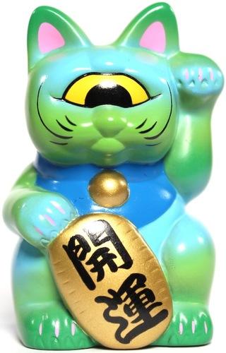 Mini_fortune_cat_-_green_w_blue_spray-realxhead_mori_katsura-mini_fortune_cat-realxhead-trampt-14256m