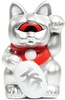 Mini Fortune Cat - Silver w/ Red Eye