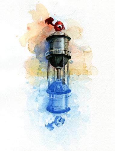 Cranston_on_tower-lou_pimentel-watercolor-trampt-30607m