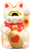 Mini Fortune Cat - White w/ Heart