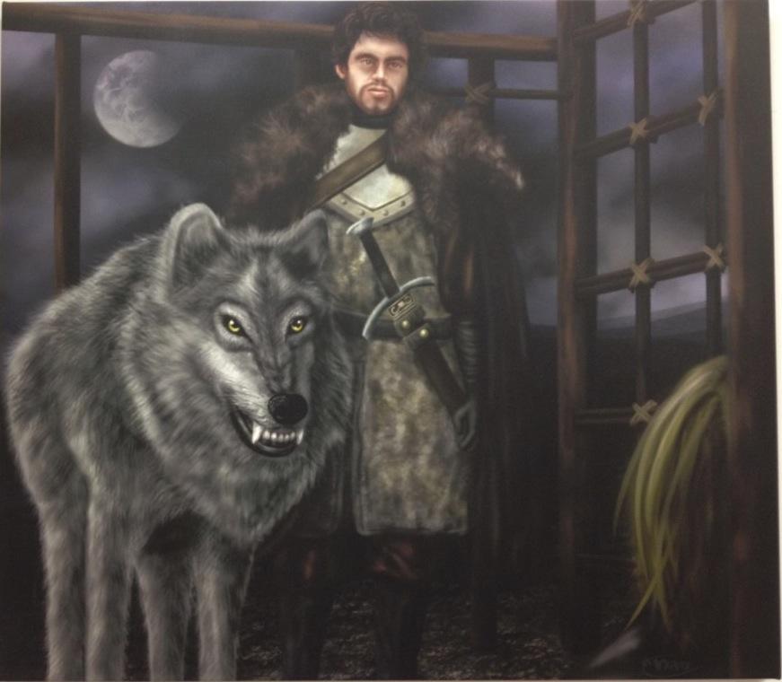 A Lady And Her Dire Wolf: Robb & Grey Wind Giclée (Art Print) By Nicole Dan