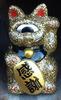 Mini Fortune Cat - Gold Glitter/White Eye
