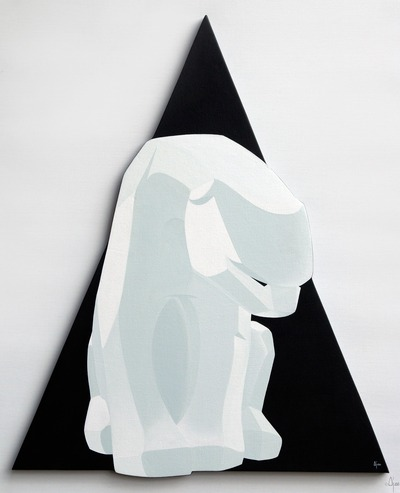 Polar_bear_on_black_triangle-ajee-acrylic_paint_on_canvas_on_wood_chassis-trampt-94243m
