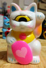 Mini Fortune Cat - White/Pink Heart