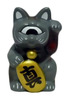 Mini Fortune Cat - Grey/Black Collar