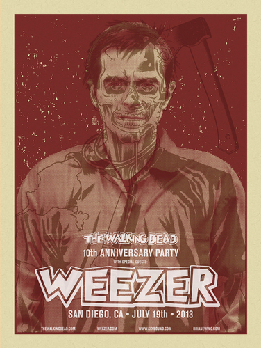 Weezer__the_walking_dead__san_diego_ca_2013_red-brian_ewing-screenprint-trampt-113484m
