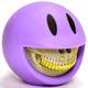 Smiley Grin Piggy Bank - Purple